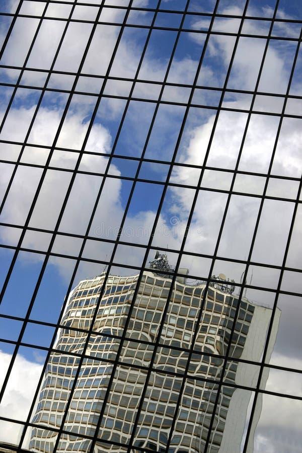 Office reflection. Office building reflected in windows of Hyatt Hotel Birmingham UK royalty free stock image