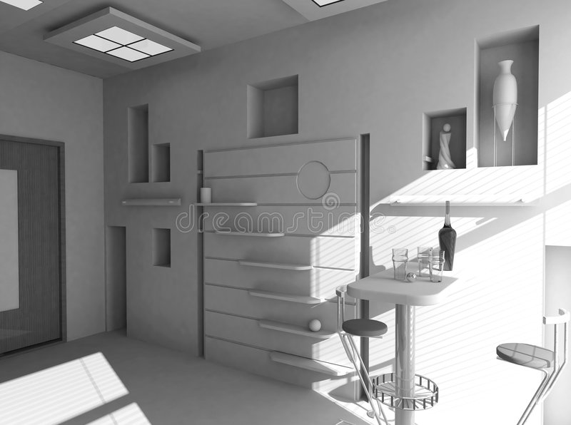 Office the rest room blank interior. (3d