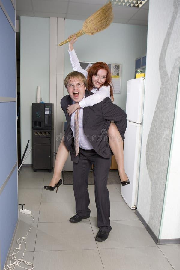 Office Ride. Secretary Rides His Boss Stock Photo