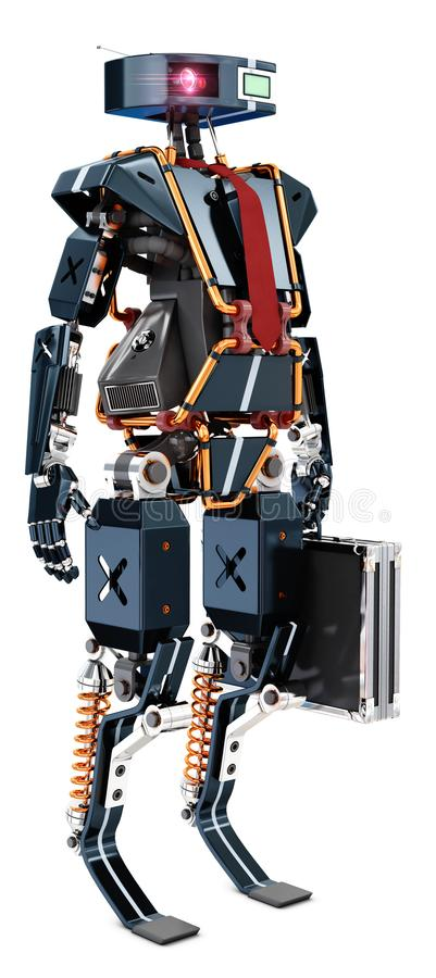 Office robot worker. Black office robot worker with tie and suit case, 3d rendering stock illustration