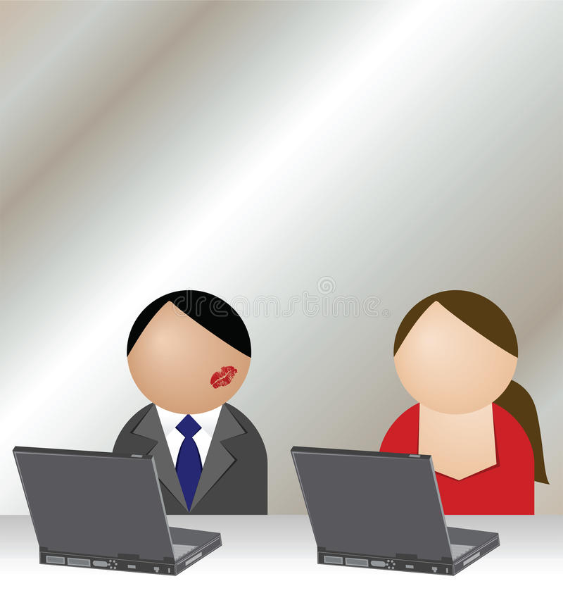 Office romance. Man and woman having an office romance stock illustration