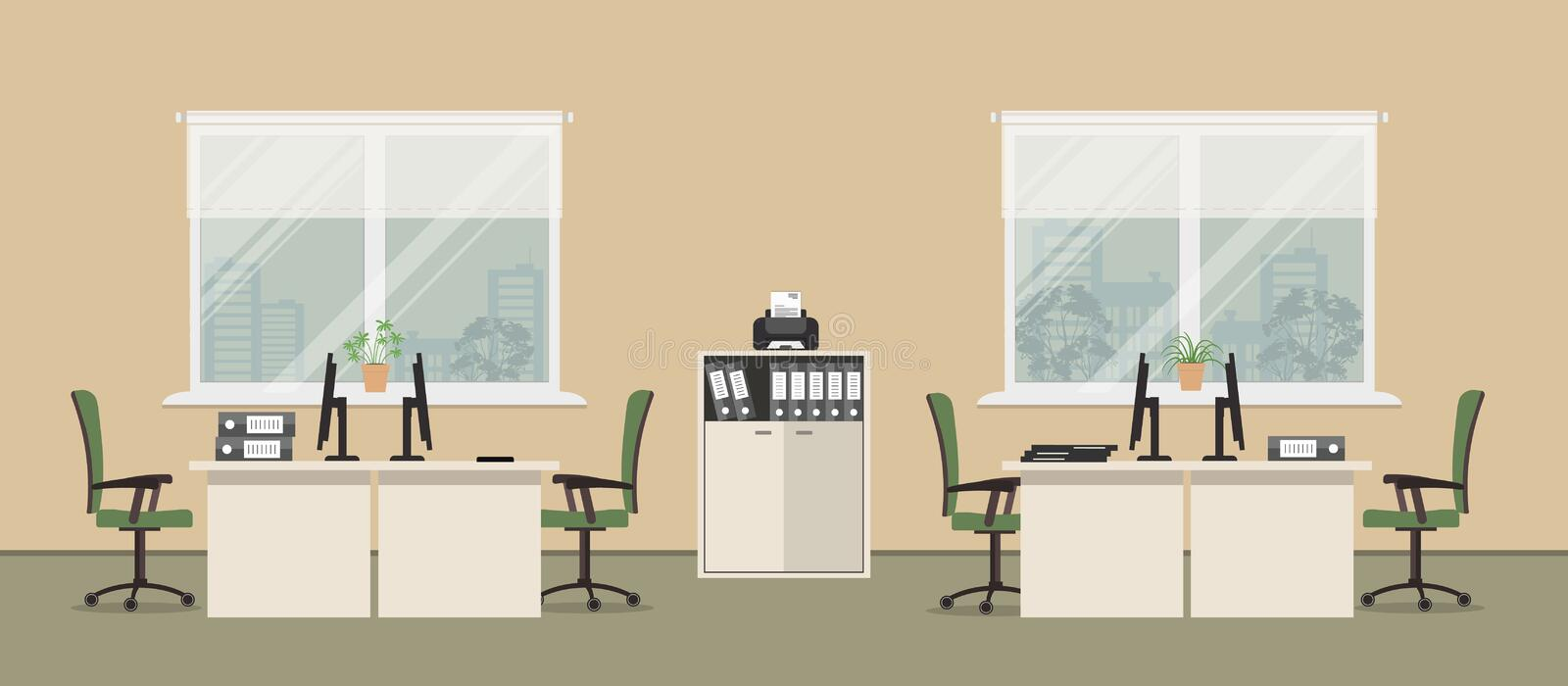 Office room in a beige color with white tables and green chairs. Office room in a beige color. There are tables, green chairs, a cabinet for documents, a printer stock illustration