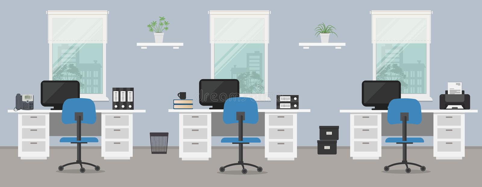 Office room in a blue color. Workplace of office workers with white furniture on a windows background. There are desks, blue chairs, computers, a phone, a stock illustration