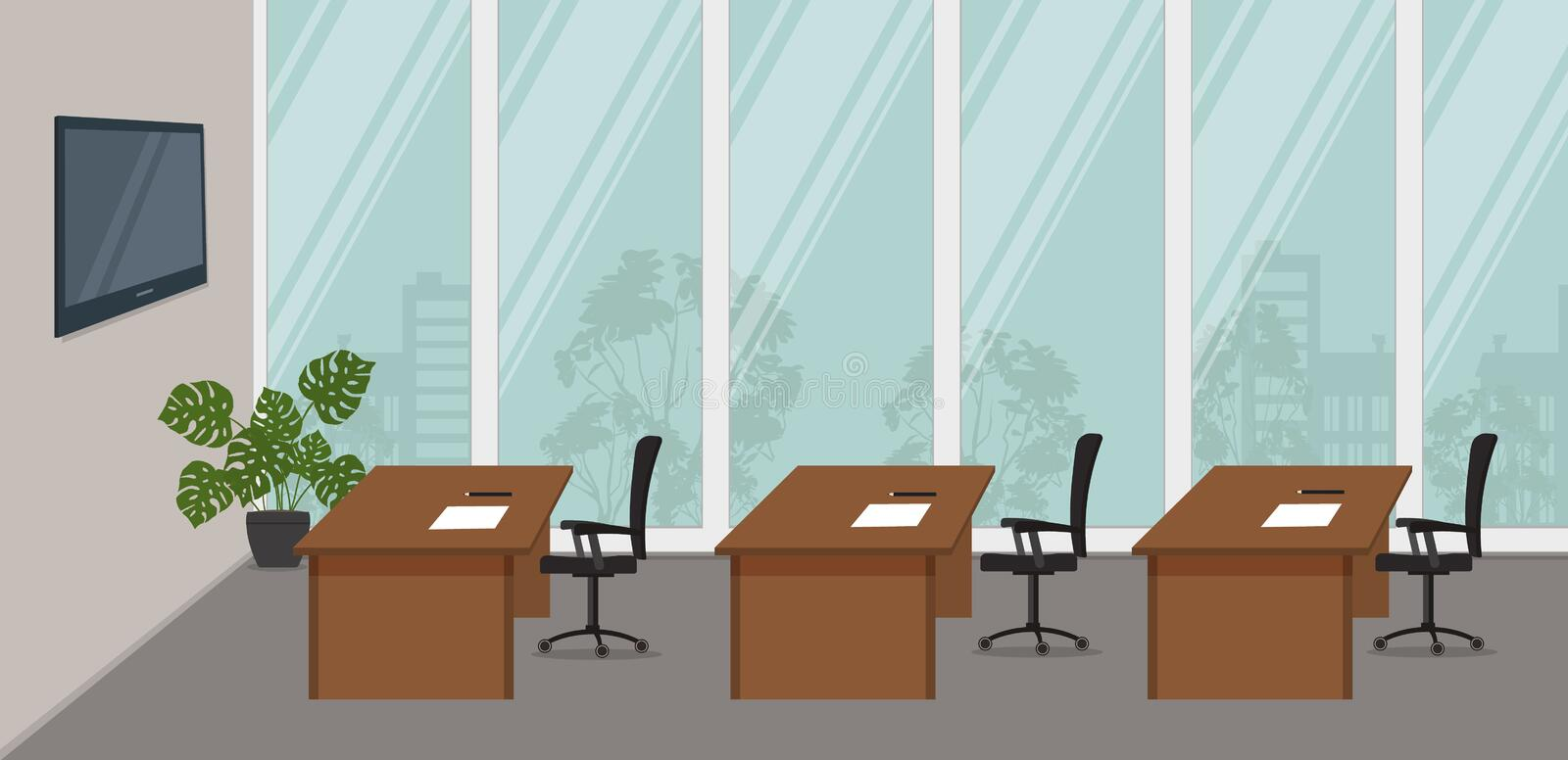 Office room for business trainings and seminars. Conference hall vector illustration