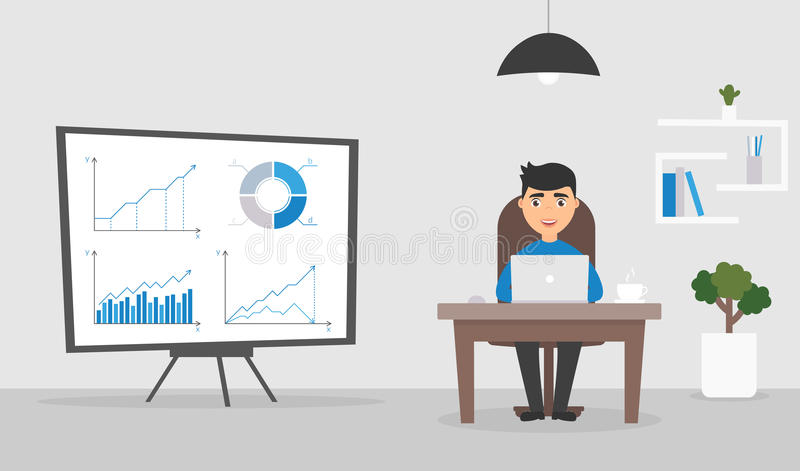 Office room. Businessman or manager working at a computer. Graphs and charts on the stand.Cute character. Flat design vector illustration