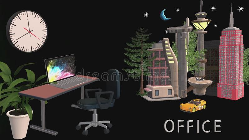 Office room design and office buildings in 3D format stock illustration