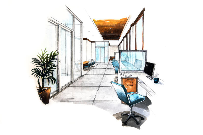 Office room design of watercolor painting. On white paper