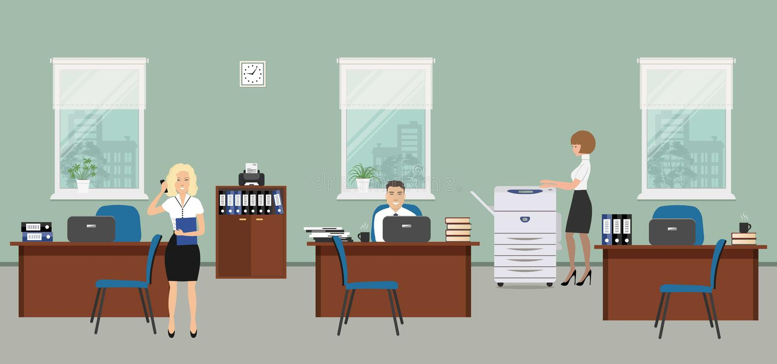 Office room in a gray color. The young women and man are employees at work. There is brown furniture, blue chairs, a copy machine on a window background in the royalty free illustration