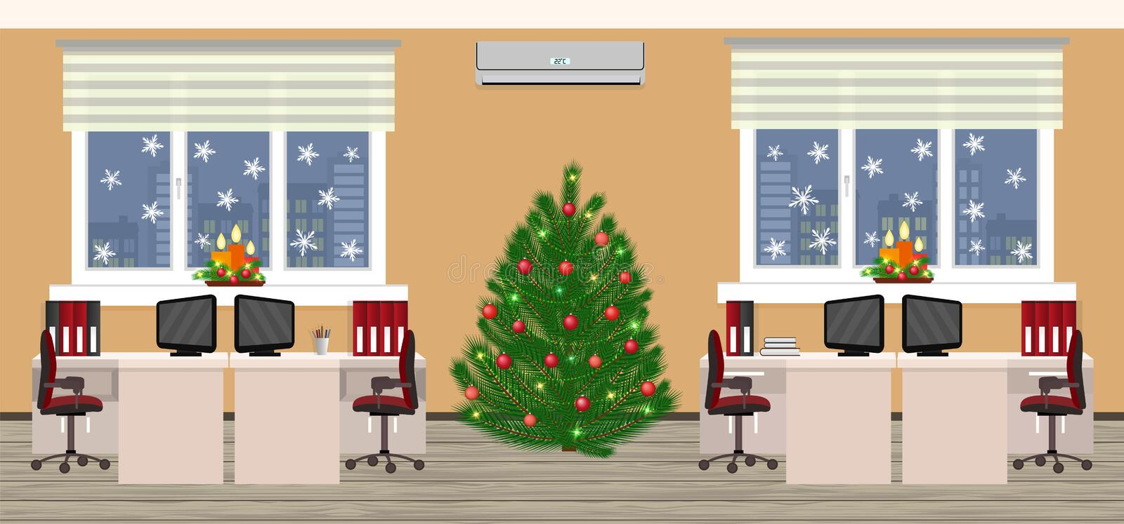 Office room interior in christmas design with two work spaces at evening before xmas. Holiday eve in company office. vector illustration