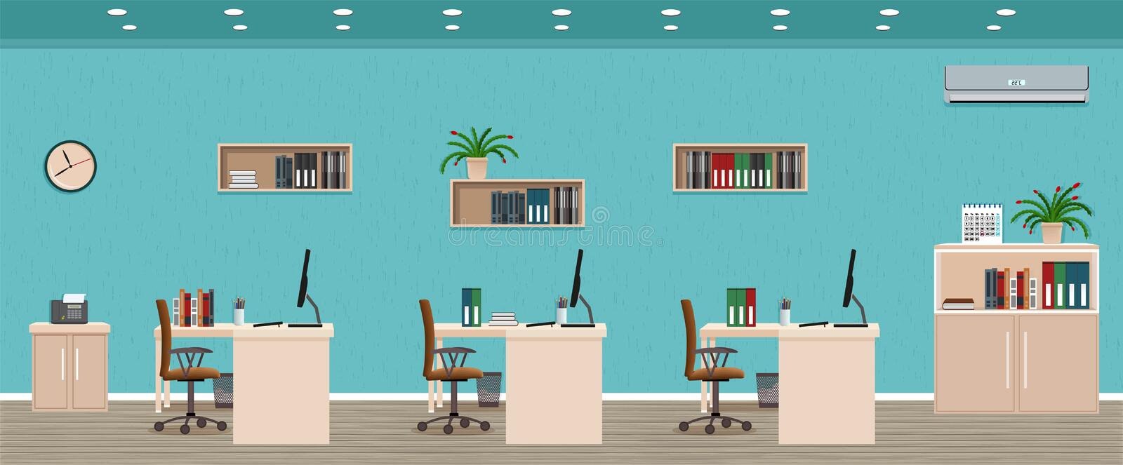 Office room interior including three workspaces with cityscape outside window. Workplace organization. Office room interior including three workspaces with vector illustration
