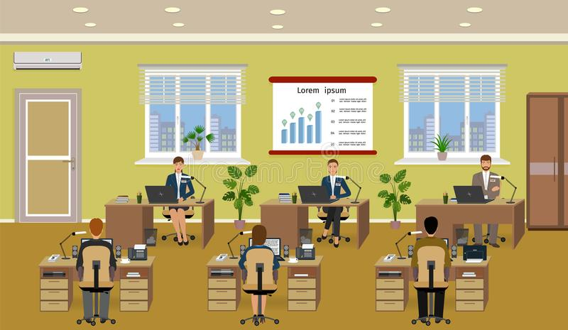 Office room interior with many working employee. Workers sitting at desks and work om the computers. stock illustration