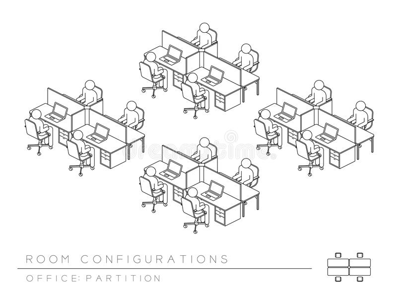 Office room setup layout configuration Half Partition style, perspective 3d isometric with top view illustration. Outline black and white color royalty free illustration