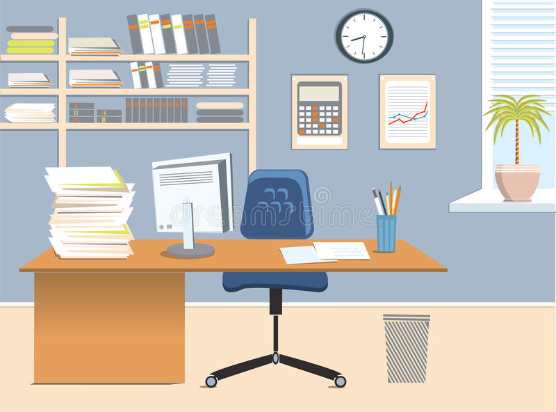 Office room. Vector interior for work with table