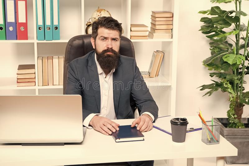 Office routine. Businessman in charge of business solutions. Developing business strategy. Risky business. Man bearded. Hipster boss sit office with laptop royalty free stock images