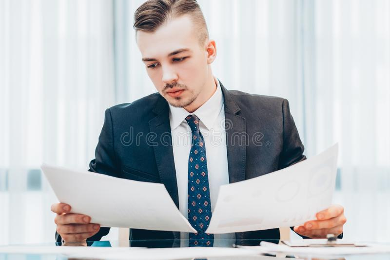 Office routine executive manager working documents stock images
