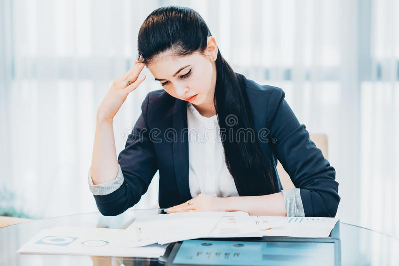 Office routine tired business woman report royalty free stock image
