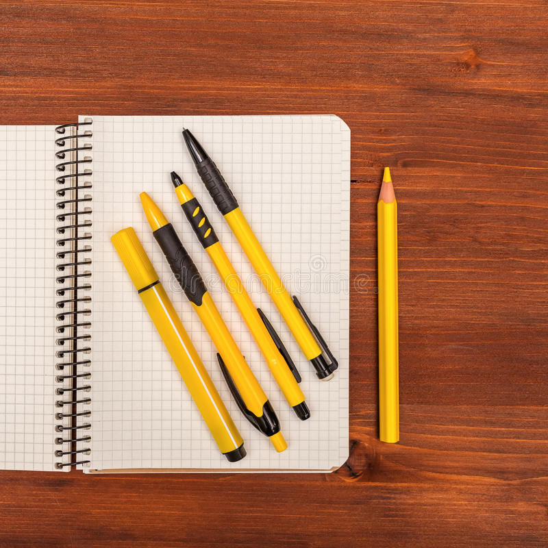 Office and school accessories. Above view royalty free stock photography