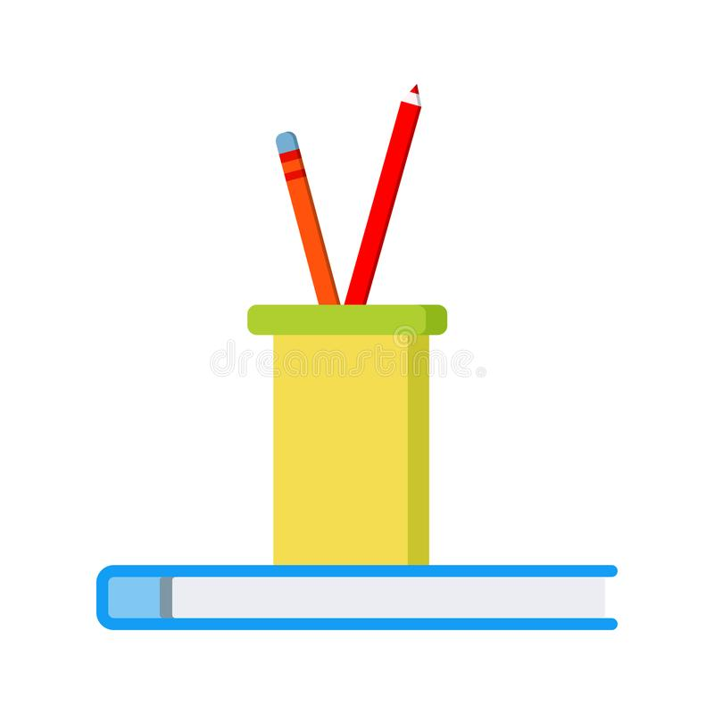 Office or school icon: two colored pencils in a plastic glass on blue notepad vector illustration