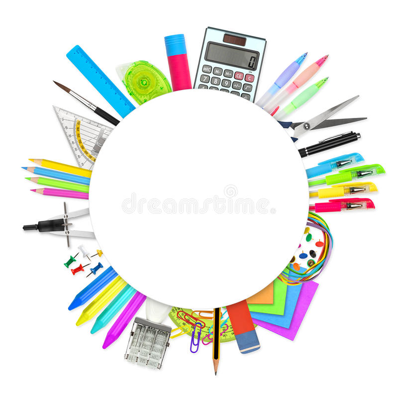 Office school stationary supplies. Round empty paper circle with copy space in front of office school stationary supplies royalty free stock photography