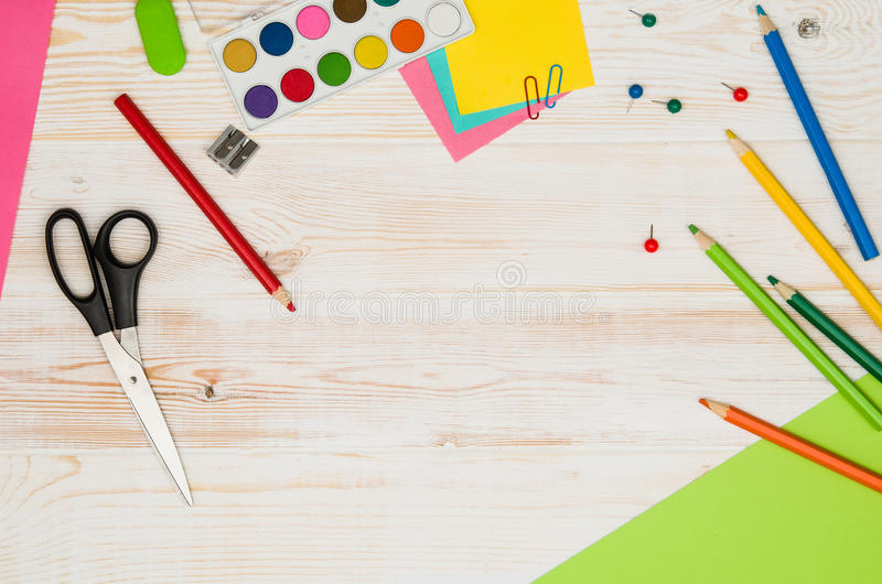 Download Office School Table Or Desk Seen From Above. Top View Stock Image    Image