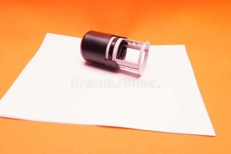 Office seal, stamp on blank white sheet of paper, close-up royalty free illustration
