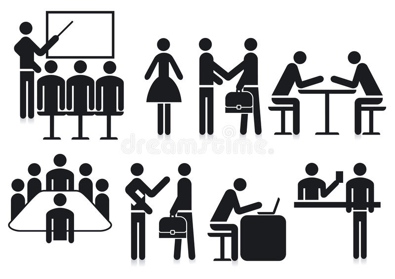 Office silhouetted icons. Black and white silhouetted icons of several different office activities and workers royalty free illustration