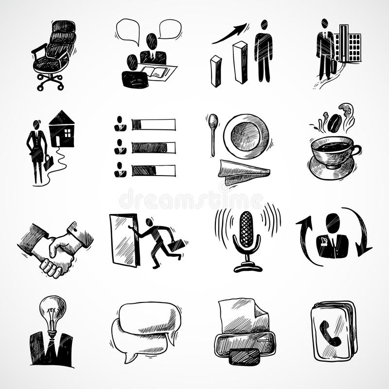 Office sketch icons set. Office business sketch icons set with tea cup handshake chart isolated vector illustration royalty free illustration