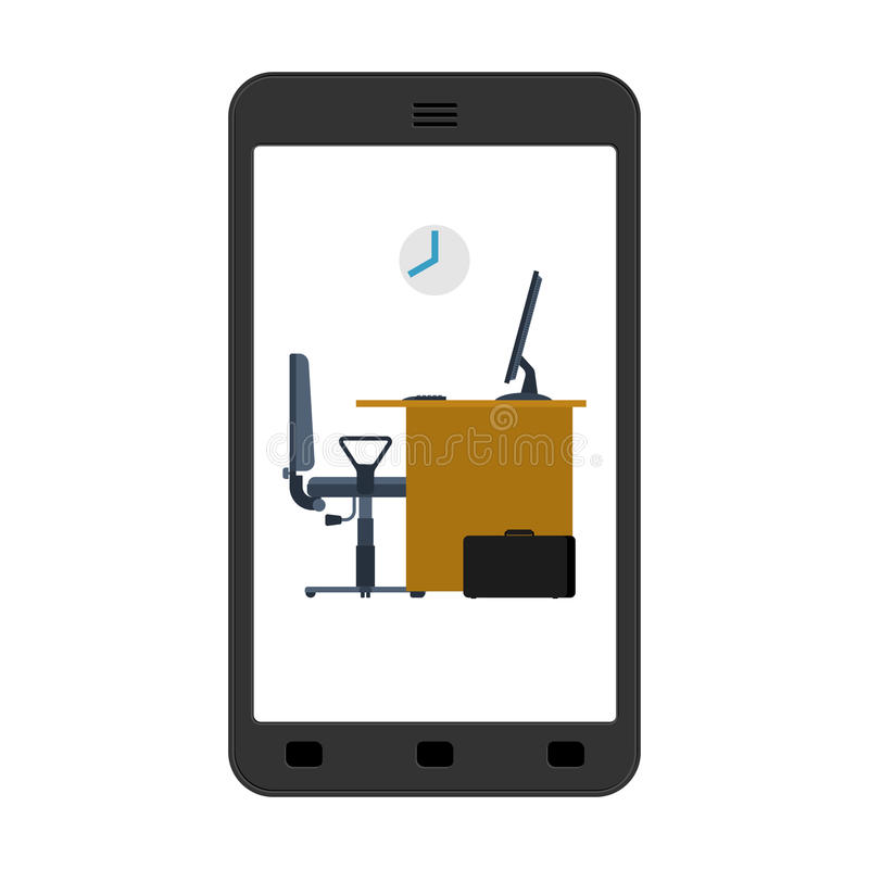 Office in smartphone. Mobile workplace in phone. Table and computer. Working on computer. vector illustration