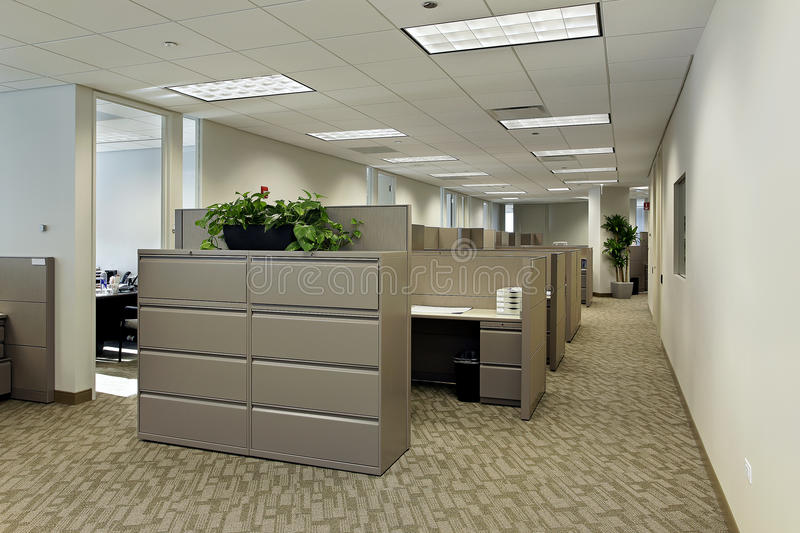 Office Space With Cubicles Royalty Free Stock Photography