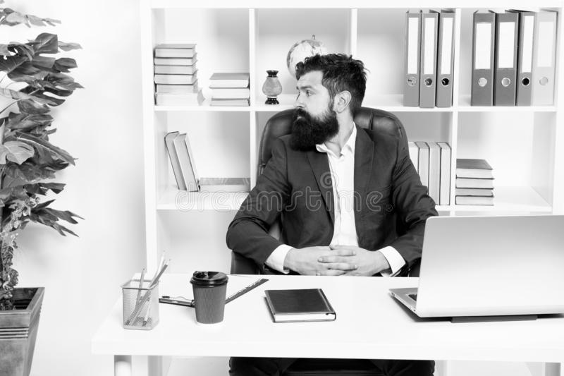 Office staff concept. Businessman in charge of business solutions. Developing business strategy. Risky business. Man. Bearded boss sit with laptop. Manager royalty free stock image