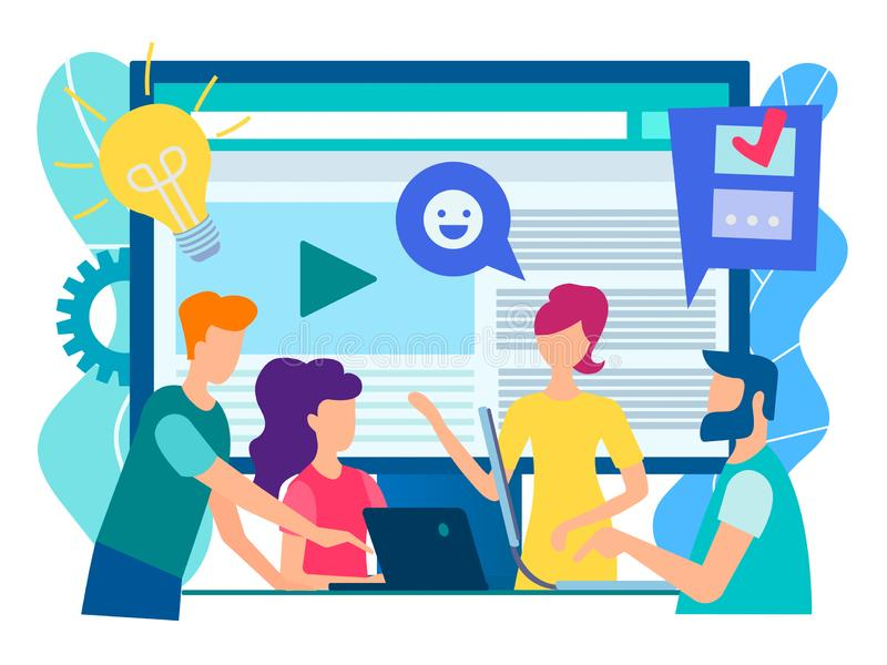 Office staff discuss current tasks with the help of modern technology gadgets, social media, the Internet. World communication on. Line concept. Vector royalty free illustration