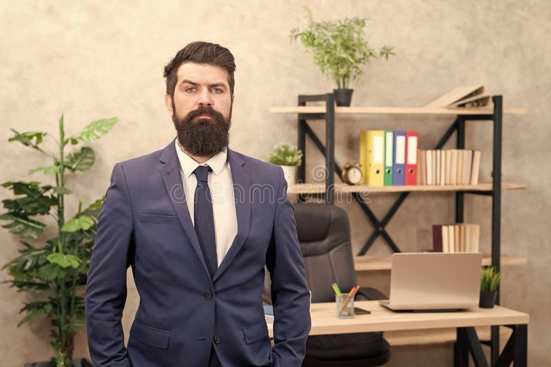 Office staff. HR director. HR management. HR job description. Head of human resources department. Man bearded serious. Office background. Provide consultation royalty free stock images