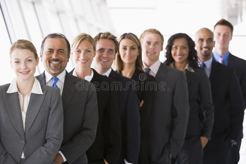 Office staff lined up royalty free stock image