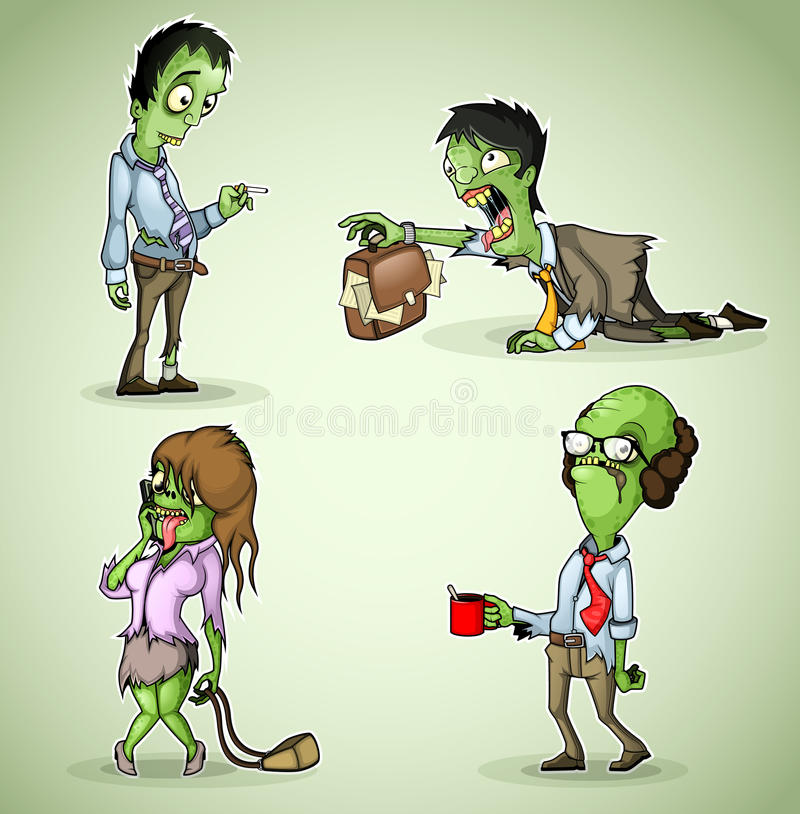 Set of four office zombie stock illustration