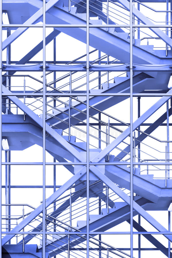 Office stairs in blue stock image
