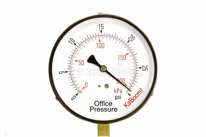 Office Stress Gauge. A conceputal stress gauge of office and deadline pressure stock photos