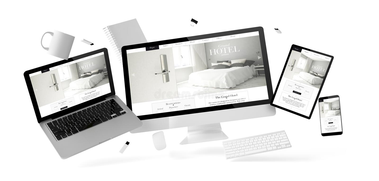 office stuff and devices floating with grand hotel website stock illustration