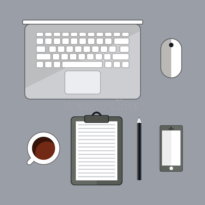 Office stuff with laptop, cup of cofee, and smartphone. Top view with copy space. Office supplies and gadgets on desk table. royalty free illustration