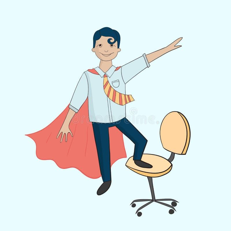 Office superhero on chair royalty free illustration