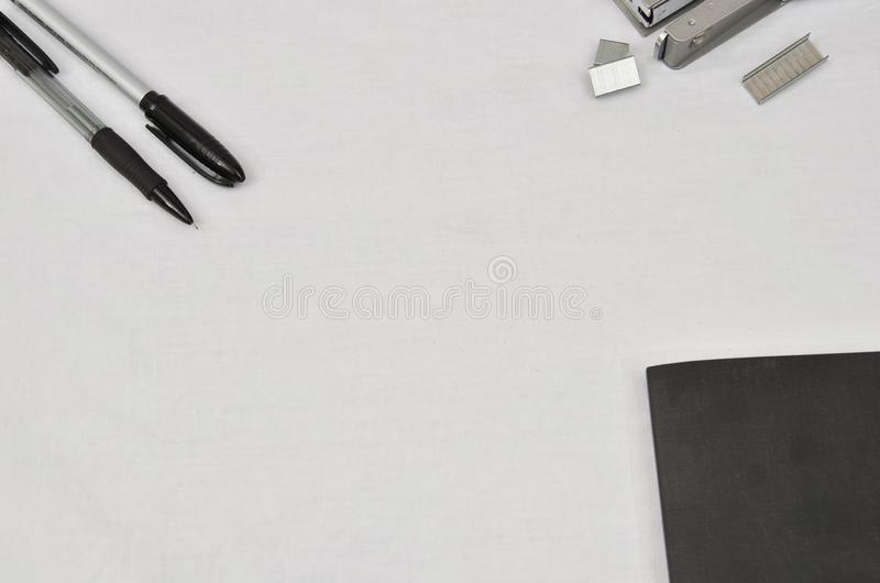 Office supplies on white background stock photos