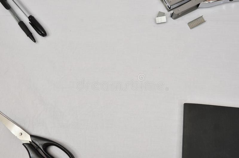 Office supplies on white background stock images