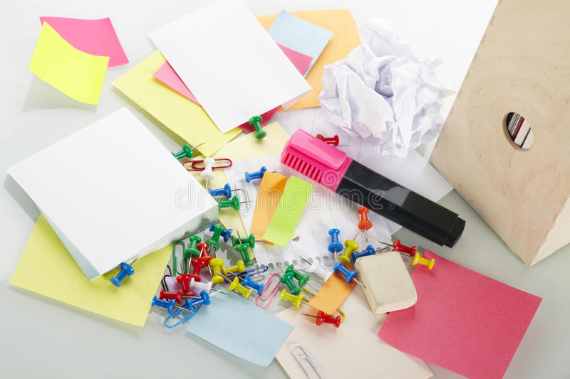 Office supplies. On the table stock image