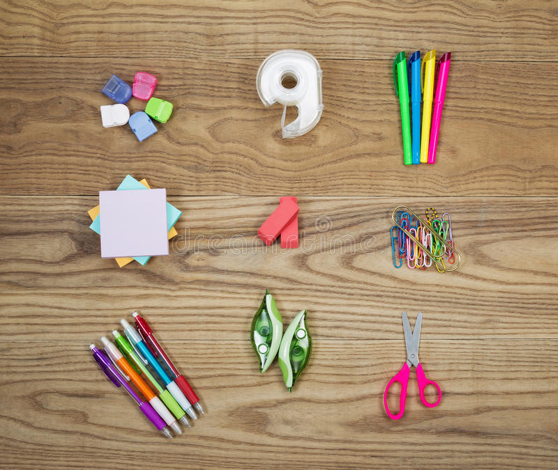 Office Supplies on Aged Wood royalty free stock photo