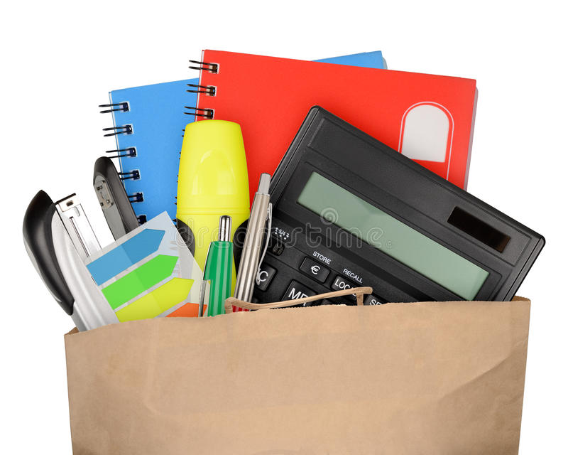 Office supplies. Bag with school and office supplies isolated on white background royalty free stock photos