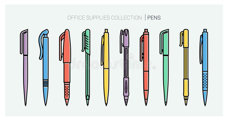 Office supplies collection. Pens set. Writing tools. Outline style. Ballpoint thin line vector icons. Biro, Fountain pen stock illustration