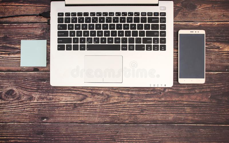 Office supplies on desk stock images