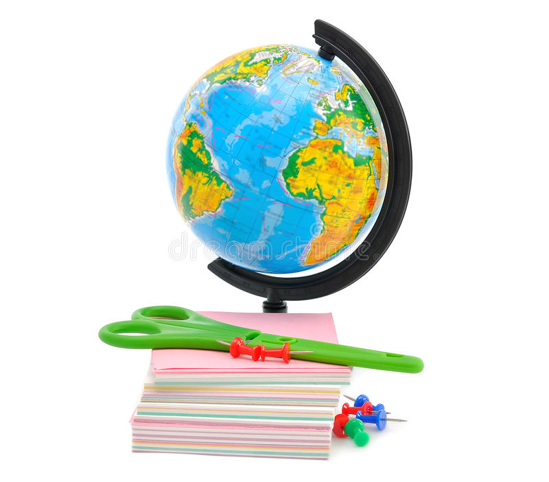 Download Office Supplies and Globe stock image. Image of stationery - 26097129