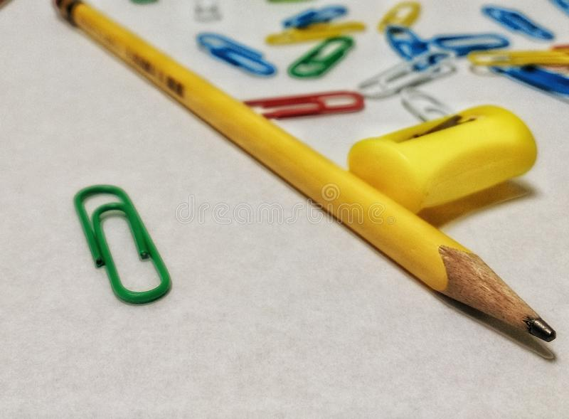 Office supplies. Group of clip, pencil of graphite, pulls tips, materials for office use stock photo