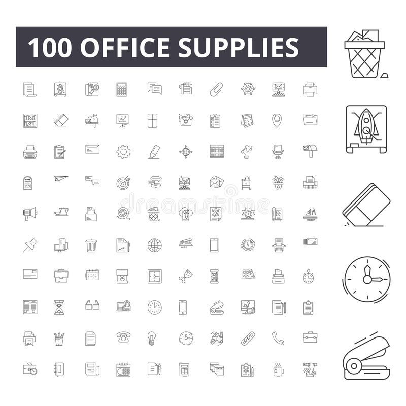 Office supplies line icons, signs, vector set, outline illustration concept vector illustration