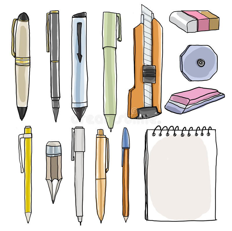 office supplies pencil pens cutter eraser illustration stock illustration